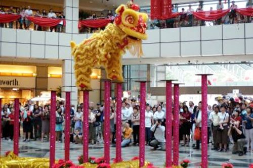 Lion Dancing Pole Lion Leap Dancing on High